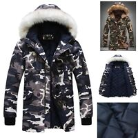 Cappotto Giacca Mimetica Uomo Unisex Man Camouflage Hooded Fur Jacket JKMAN01 P