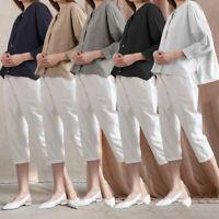 Womens Ladies Vintage Casual Long Sleeve Loose Cotton Linen T-Shirt Tops Blouse