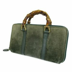 Auth GUCCI Bamboo Handle Leather Round Zipper Long Wallet Purse Green 19716bkac