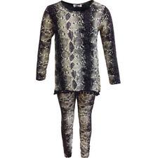 Vêtements ensemble pyjama noirs à longueur de manches manches longues pour fille de 2 à 16 ans