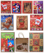 10 Small & Medium Christmas Gift Bags - 1 of each Design - Pack of Xmas Bags