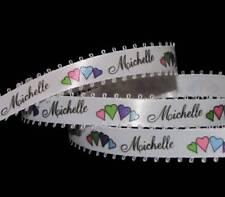 "5 Yards Michelle Name Colorful Hearts White Satin Picot Ribbon 1/2""W"