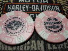 Harley Pink & White Poker Chip Speedway Harley Davidson Concord, NC