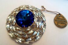 Vintage Brooch Swarovski Cystals From Austria Blue Rivoli Clear Crystal Navettes