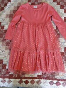 Hanna Andersson 130 8 - 10 Pink Dress Christmas Holiday Tulle Glitter Dot Cute