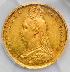 UNCIRCULATED 1887 Victoria Jubilee Head / Shield Gold Half Sovereign -PCGS MS-61