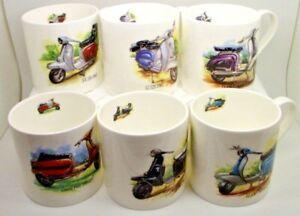 Classic Lambretta's ~ SET OF 6 LARGE Bone China Mugs