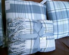 Sainsbury's Blue Check Throw 125x150cm & 3 Cushions 43x43cm NEW 4pc SET