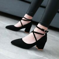 Womens Suede Block High Heels Strappy Pointed Toe Pumps Buckle Mary Jane Shoes