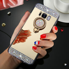 For Samsung Galaxy S9 Plus Bling Rhinestone Mirror Ring Holder Stand Case Cover