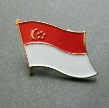 SINGAPORE ASIAN SINGLE FLAG LAPEL PIN BADGE 1 INCH
