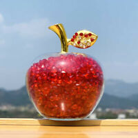 Crystal Craft Fruit Figurines Glass Apple with Diamond Natural Stone Home Decors