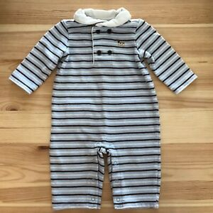 JANIE AND JACK Baby Beagle Blue/Brown Striped Romper Outfit Size 3-6 Months