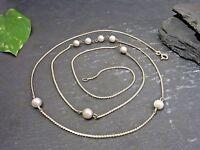 Vintage 925 Silber Kette Perlen Vergoldet Elegant Lang Reto Jugendstil Art Deco