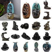 Ceramic Mountain Waterfall Smoke Backflow Incense Burner Censer Cones Holder AU
