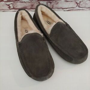 Ugg Mens Ascot Grey Suede Wool Slip On Loafer Slipper 1101110 Size 9 Fast Ship