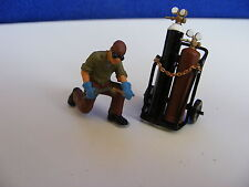 Kneeling Welder, Torch, Gas Bottles on Trolley- 1:43 Finished White Metal Figure