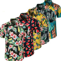 Mens Hawaiian Floral Short Sleeve Shirt Aloha Party Summer Holiday Beach Blouse