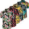 Men Hawaiian Floral Short Sleeve T Shirt Party Summer Holiday Beach Blouse Tops