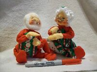 """Vintage Annalee Mobilitee Doll Santa Christmas Mr and Mrs Claus 8"""""""