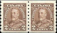 Mint H Canada PAIR 1935 F-VF 2c Scott #229 Pictorial Coil Stamps