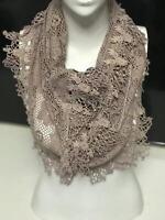 Women wrap scarf shawl Cotton Crochet Lace triangle Purple Khaki Purple