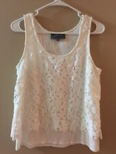 Anthropolgie Sunday In Brooklyn White Floral Lace White Tank Small