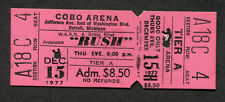 1977 Rush Unused Concert Ticket Cobo Arena Detroit Michigan A Farewell To Kings