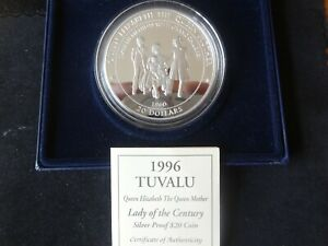 1996 FINE SILVER PROOF 5OZ TUVALU $20 COIN BOX + COA QUEEN MOTHER ROYAL MINT