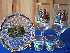 Vintage Crystal Black Forest Ashtray Shot Glasses Stemware Set W Germany MIB