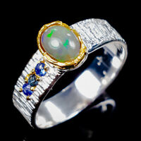 Black Opal Ring Silver 925 Sterling Beauty Rainbow6x4mm Size 7.5 /R128935