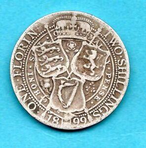 1899 QUEEN VICTORIA VEILED HEAD SILVER FLORIN COIN. TWO SHILLINGS. 2/-