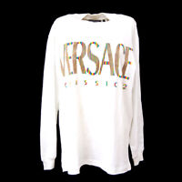 Auth VERSACE Vintage Long Sleeve Tops Shirt White 100% Cotton # S Italy AK32462