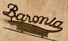 VINTAGE BARONIA TAILORING BRASS METAL SIGN PLAQUE ADVERTISING SHOP HABERDASHERY