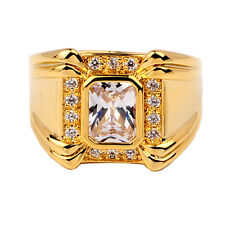 Gold Color Solid Ring Mens 4-claw Oblong Cubic Zirconia size 10