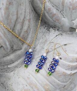 Handmade Texas Bluebonnet Gold Wire Necklace & Earring Set lightweight Durable