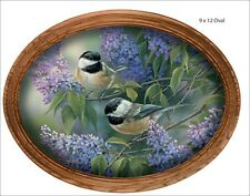 Rosemary Millette Chickadees and Lilacs Oval Art Print Framed 14 x 11