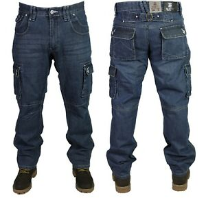 Mens New Denim Cargo Combat Jeans MC Buddy in Mid Used Blue Colour Sizes 28-50