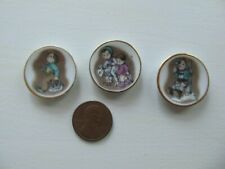 Dollhouse Miniature 1:12 Lot of 3 Vintage Porcelain Plates Hummel Design Antique