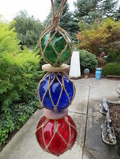 """3""""4""""5"""" Red,Cobalt, Green Trio Curio Glass Floats Balls Buoys Bouys Net Floats"""