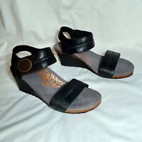 Aetrex Arielle Women's Black Leather Wedge Comfort Sandals EW500W USA 10