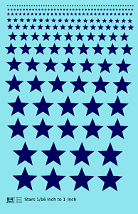 K4 All Scales Decals Five Point Stars 1/16 To 1 Inch Dark Blue