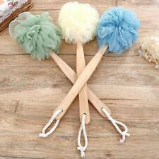 Long Handled Wooden Loofah Bath Shower Body Scrub Puff Scrunchie Scrubber Lizzj