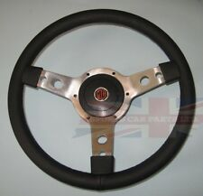 "New 14"" Leather Steering Wheel & Adaptor Austin Healey Sprite 1958-63 Polished"