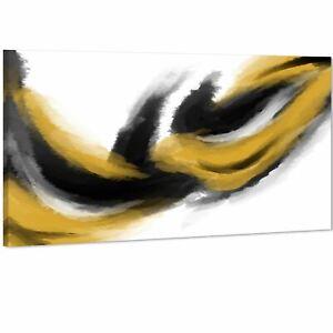 Abstract Mustard Yellow Black Design Canvas Wall Art Print
