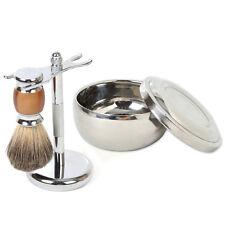 Metal Mug Bowl Set Barber + Men Badger Wet Shaving Brush + Razor Stand Holder
