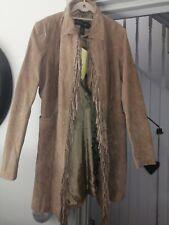 Centigrade BNWT 100% Washable Suede Tan Size Large Coat Jacket Tassles