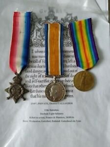 WW1 Trio medals to Gallagher, 12/DLI KIA. 24/09/16. Somme casualty.