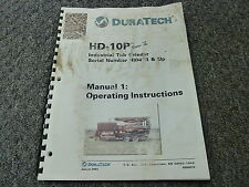 Duratech HD10P Industrial Tub Grinder Owner Operator Maintenance Manual Book