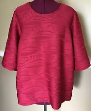 Maggie Barnes Red Textured 3/4 Sleeve Top Blouse Size 1XWP 18/20 New With Tags